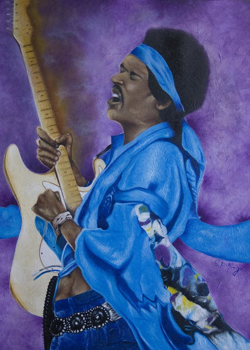 Portraiture Greeting Card featuring the painting Purple Haze by Stephen J DiRienzo