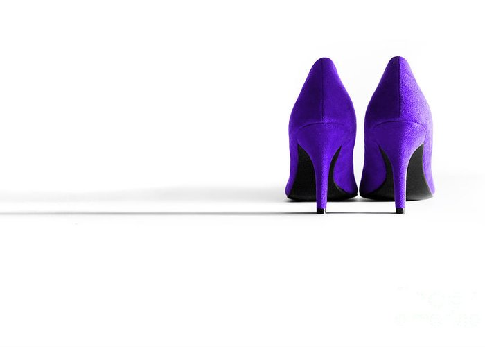 Shoe Greeting Card featuring the photograph Purple High Heel Shoes by Natalie Kinnear