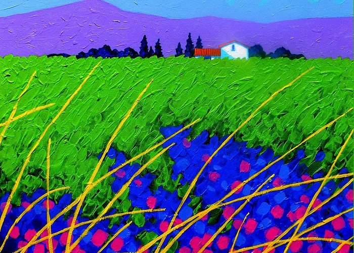 Cottage Greeting Card featuring the painting Purple Hills by John Nolan