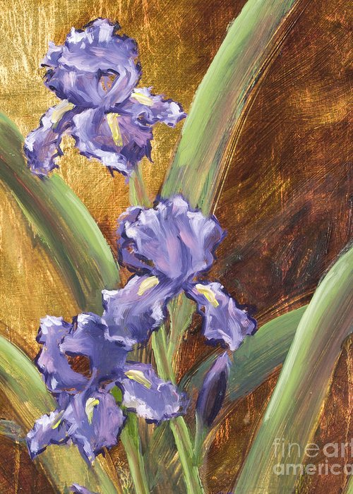 Iris Greeting Card featuring the painting Purple Iris With Gold Leaf By Vic Mastis by Vic Mastis