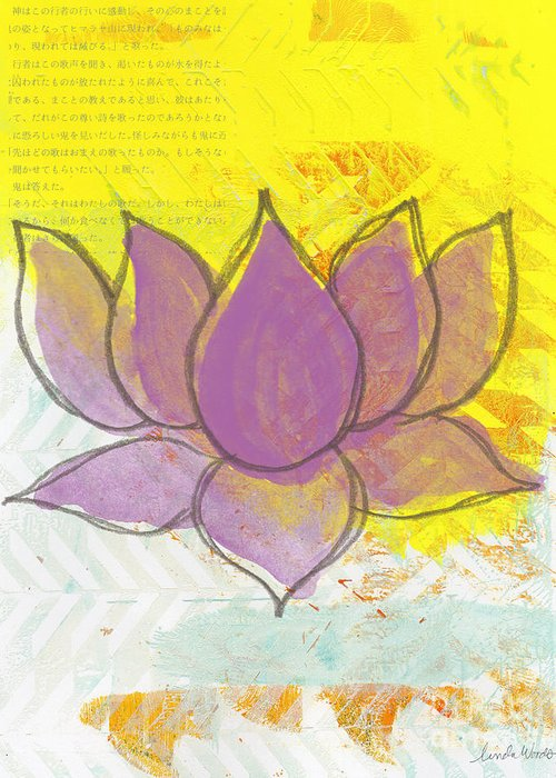 Lotus Greeting Card featuring the painting Purple Lotus by Linda Woods