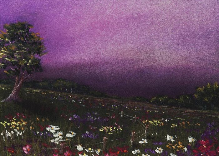 Malakhova Greeting Card featuring the painting Purple Meadow by Anastasiya Malakhova