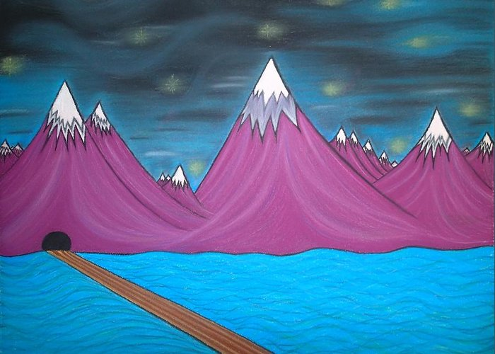 Abstract Painting Greeting Card featuring the pastel Purple Mountains by Robert Nickologianis