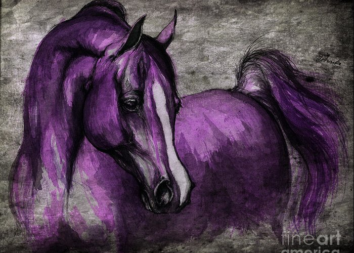 Horse Greeting Card featuring the painting Purple One by Angel Tarantella