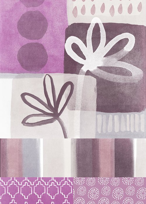 Hope Greeting Card featuring the mixed media Purple Patchwork- Contemporary Art by Linda Woods