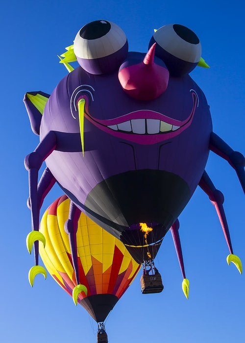 Purple People Eater Hot Air Balloon Greeting Card featuring the photograph Purple People Eater And Friend by Garry Gay