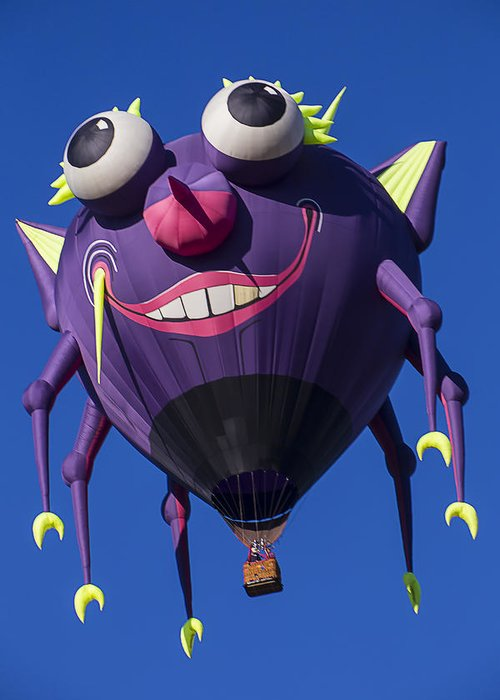 Purple People Eater Hot Air Balloon Greeting Card featuring the photograph Purple People Eater by Garry Gay