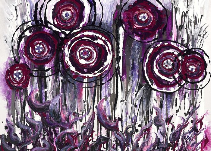Poppies Greeting Card featuring the painting Purple Poppies by Nadine Rippelmeyer