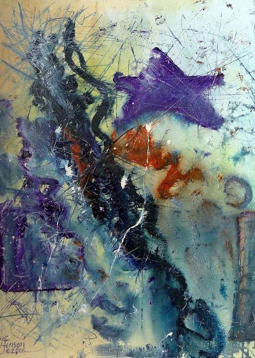 Abstract Greeting Card featuring the mixed media Purple Star by Kenny Henson