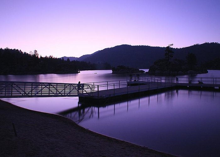 Sunset Greeting Card featuring the photograph Purple Sunset At Big Bear Lake by Tom Dupee