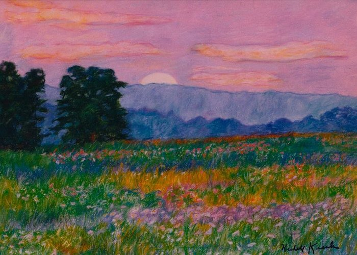 Kendall Kessler Greeting Card featuring the painting Purple Sunset On The Blue Ridge by Kendall Kessler