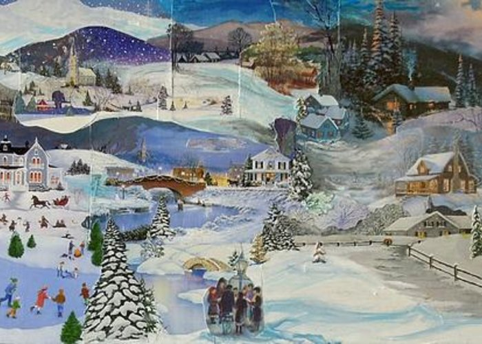 Landscape Greeting Card featuring the mixed media Purple Twilight on Snow- SOLD by Judith Espinoza