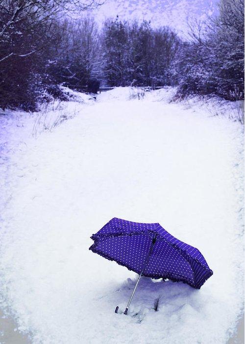 Umbrella Greeting Card featuring the photograph Purple Umbrella by Amanda Elwell