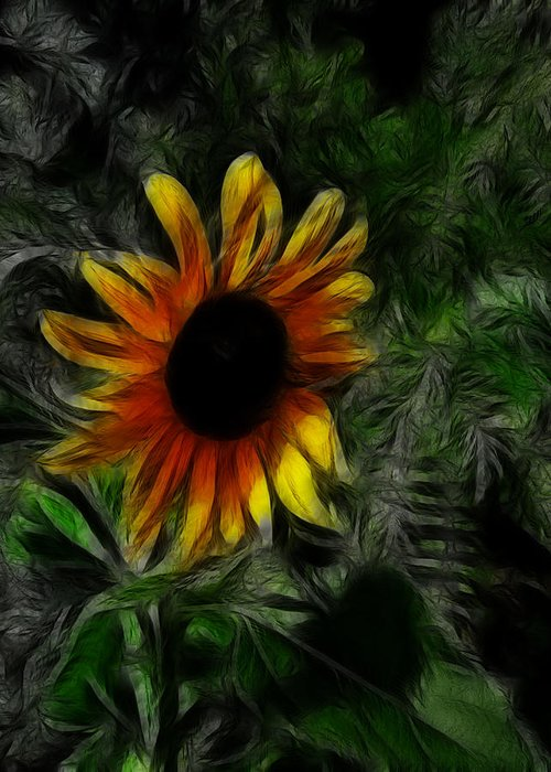 Sunflower Greeting Card featuring the digital art Put On A Happy Face by Bobbie Barth