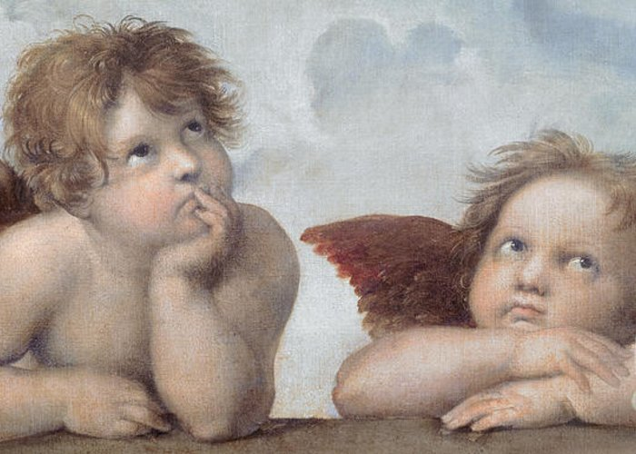 Putto Greeting Card featuring the painting Putti Detail From The Sistine Madonna by Raphael