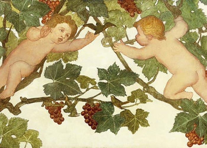 Irish Greeting Card featuring the painting Putti Frolicking In A Vineyard by Phoebe Anna Traquair