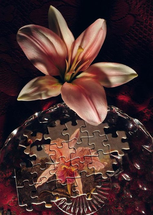Jigsaw Greeting Card featuring the photograph Puzzled Flower by John B Poisson