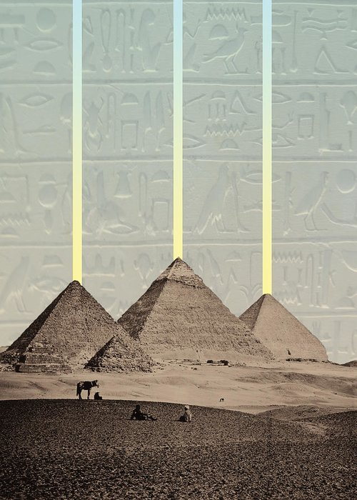 Pyramids Greeting Card featuring the digital art Pyramids Hieroglyphs Spotlights by