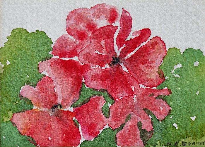 Floral Greeting Card featuring the painting Pzzzazz by Mary Ellen Mueller Legault