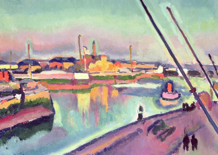 Boat Greeting Card featuring the painting Quai Notre Dame Le Havre by Georges Dupuis