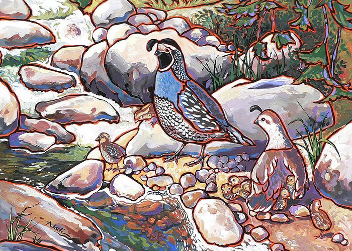 Quail Greeting Card featuring the painting Quail Family by Nadi Spencer