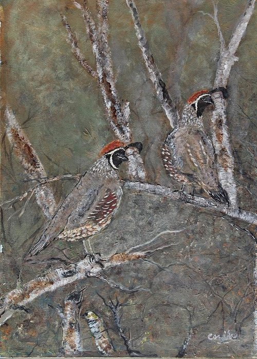 Quail Greeting Card featuring the painting Quail Lookouts by Cecile Fortier