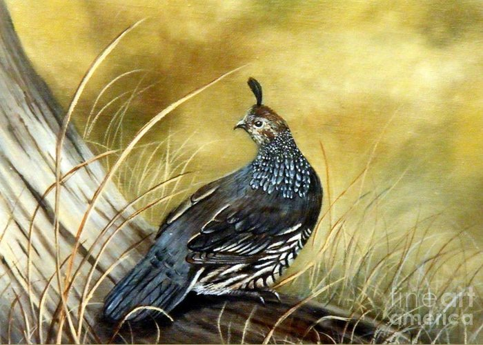 Quail Sunning Greeting Card featuring the painting Quail on log by Lynne Parker