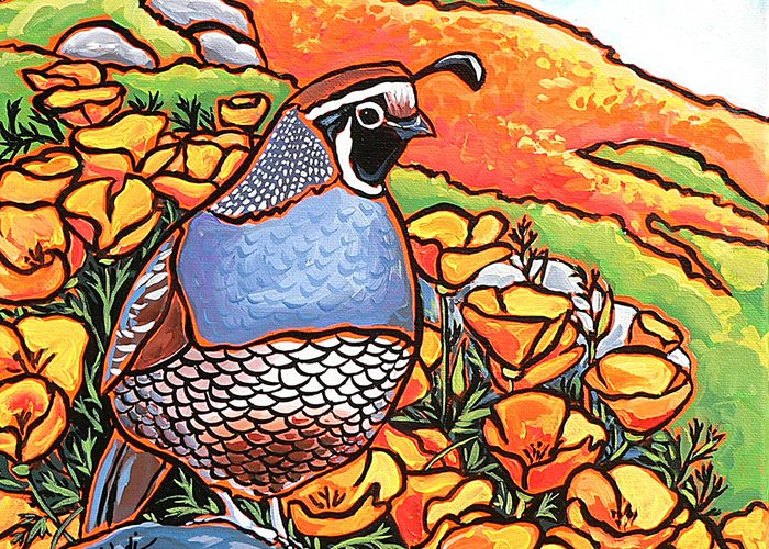 California Poppies Greeting Card featuring the painting Quail Poppies by Nadi Spencer