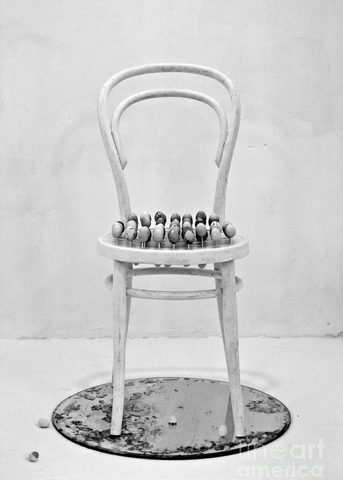 Bespoke Greeting Card featuring the photograph Quails Eggs On A Chair by Alexander Photography