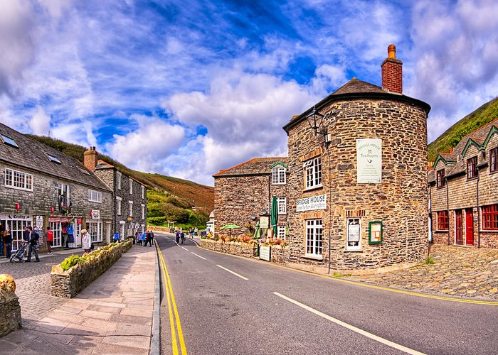 Cornwall Greeting Card featuring the photograph Quaint Cornwall In The Little Village Of Boscastle by Mark E Tisdale