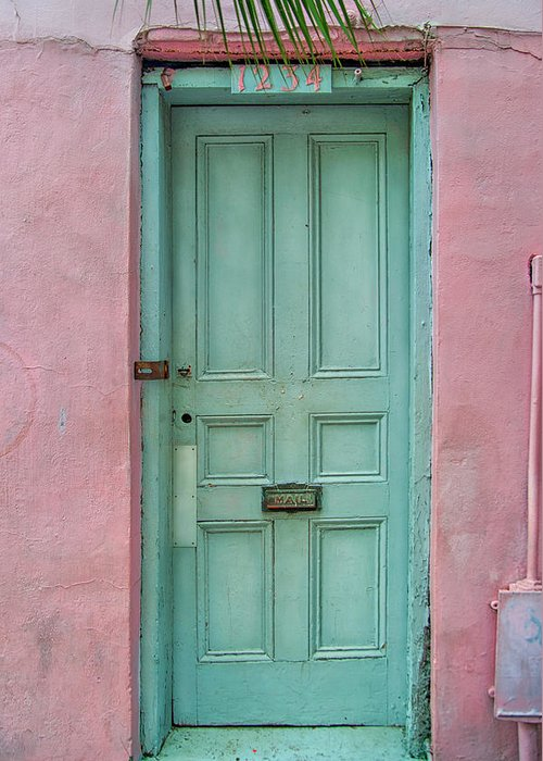 Door Greeting Card featuring the photograph Quaint Little Door In The Quarter by Brenda Bryant