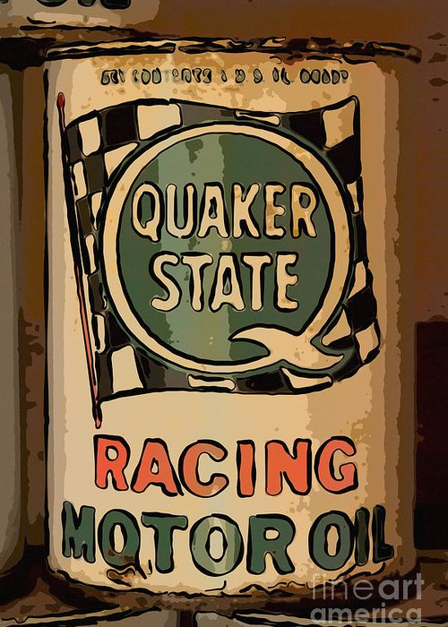 Racing Motor Oil Greeting Card featuring the photograph Quaker State Oil Can by Carrie Cranwill