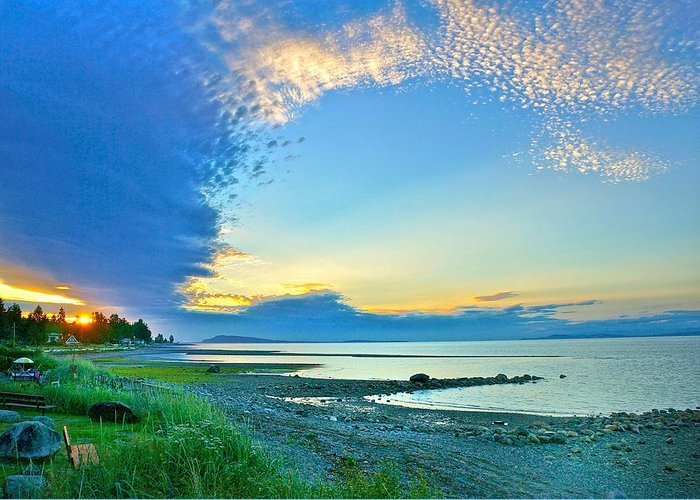 Qualicum Greeting Card featuring the photograph Qualicum Beach Clouds by Ron Ritchey