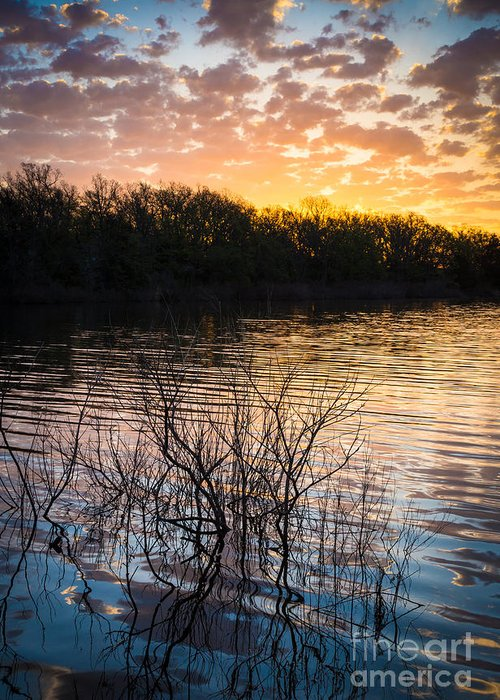 America Greeting Card featuring the photograph Quanah Parker Lake Sunrise by Inge Johnsson