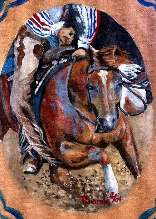 Quarter Horse Cutting Horse Greeting Card featuring the painting Quarter Horse Cutting Horse by Olde Time Mercantile