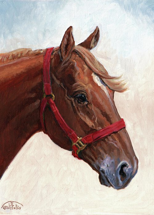 Horse Greeting Card featuring the painting Quarter Horse by Randy Follis