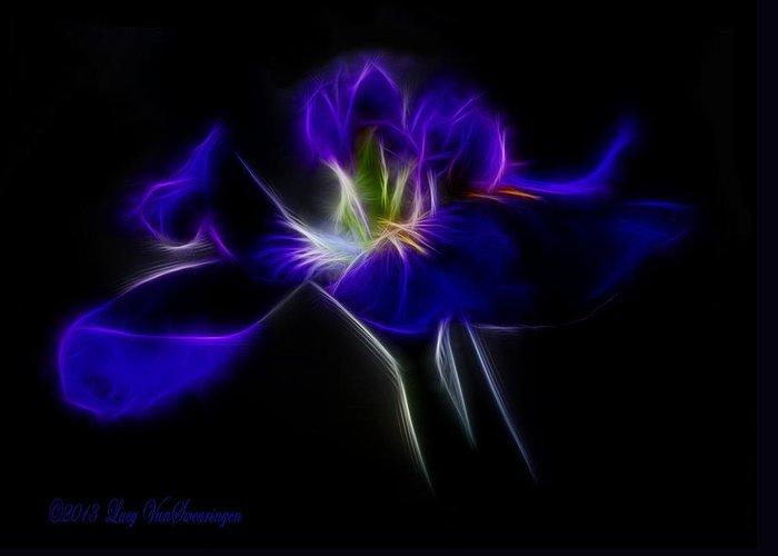 Iris Greeting Card featuring the photograph Quasar Iris by Lucy VanSwearingen