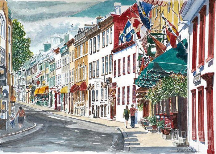 Quebec Old City Canada Greeting Card featuring the painting Quebec Old City Canada by Anthony Butera