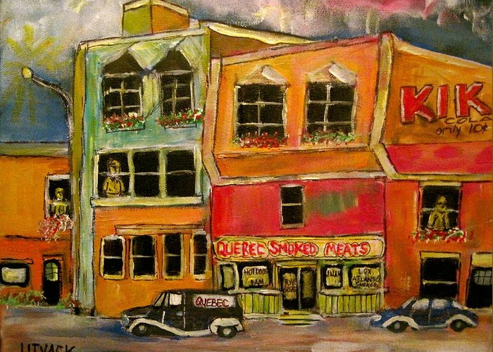 Montreal Greeting Card featuring the painting Quebec Smoked Meat King by Michael Litvack