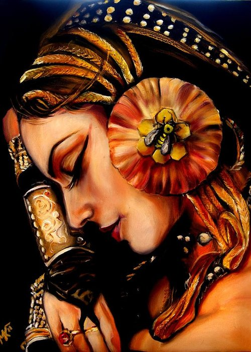 Beauty Greeting Card featuring the painting Queen Bee by Em Kotoul