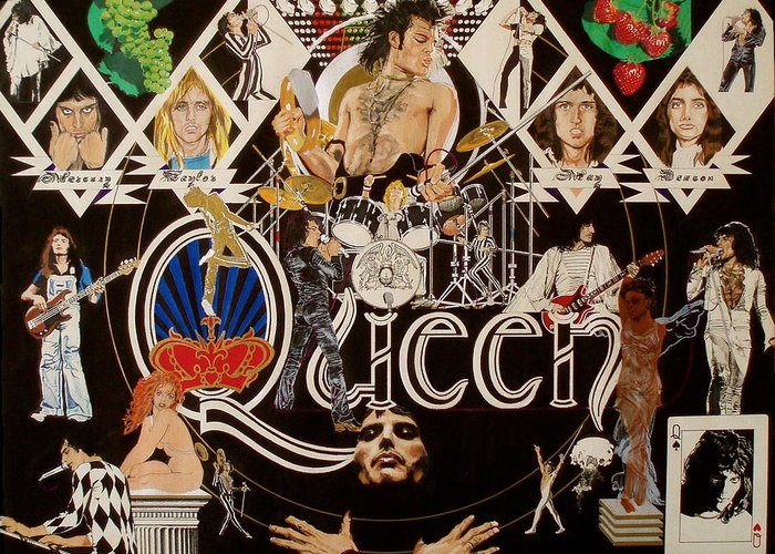 Freddie Mercury;brian May;roger Taylor;john Deacon;guitars;crown;royal;grapes;strawberries;drums; Greeting Card featuring the drawing Queen - Black Queen White Queen by Sean Connolly