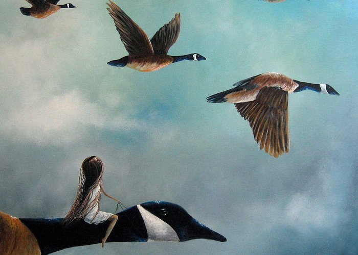 Canada Geese Greeting Card featuring the painting Queen Of The Canada Geese By Shawna Erback by Shawna Erback