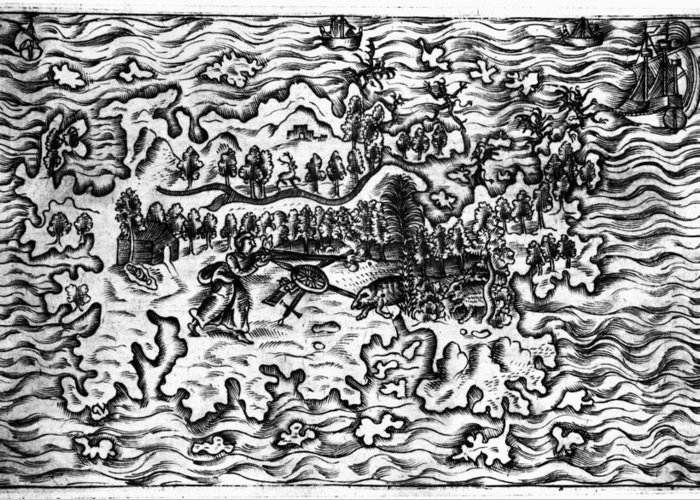 1613 Greeting Card featuring the drawing Queiros Voyages, 1613 by Granger