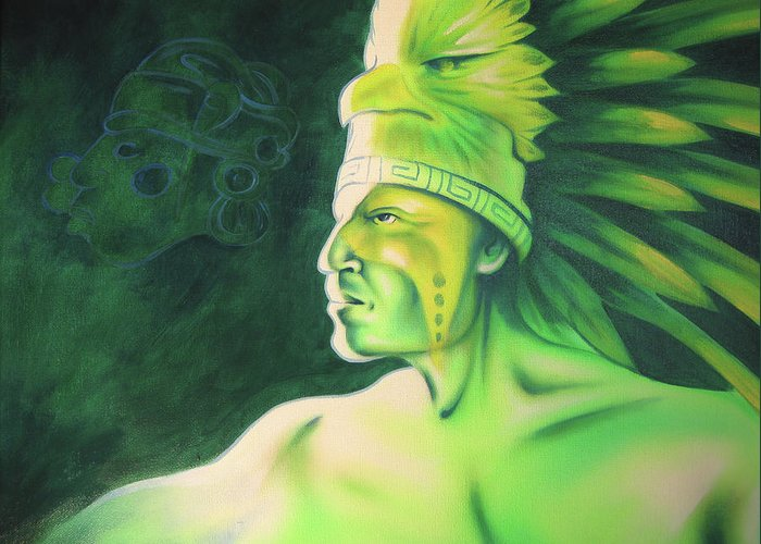 Native American Art Greeting Card featuring the painting Quetzal by Robert Martinez