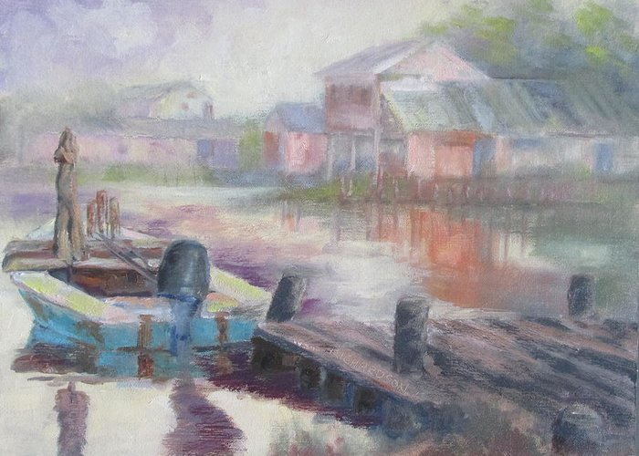 East Point Greeting Card featuring the painting Quiet Morning In East Point by Susan Richardson