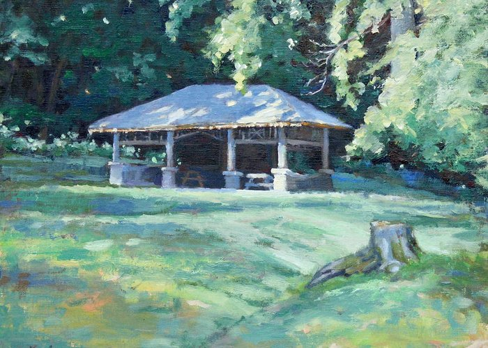 Frist Shelter Greeting Card featuring the painting Quiet Resting Place by Sandra Harris