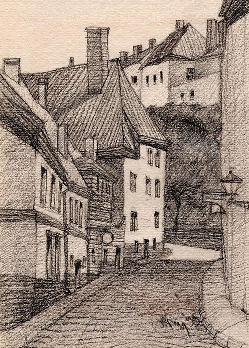 Architecture Drawing Greeting Card featuring the drawing Quiet by Serge Yudin