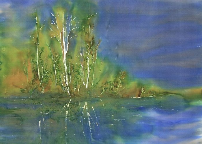 Batik Greeting Card featuring the tapestry - textile Quiet Stream by Carolyn Doe