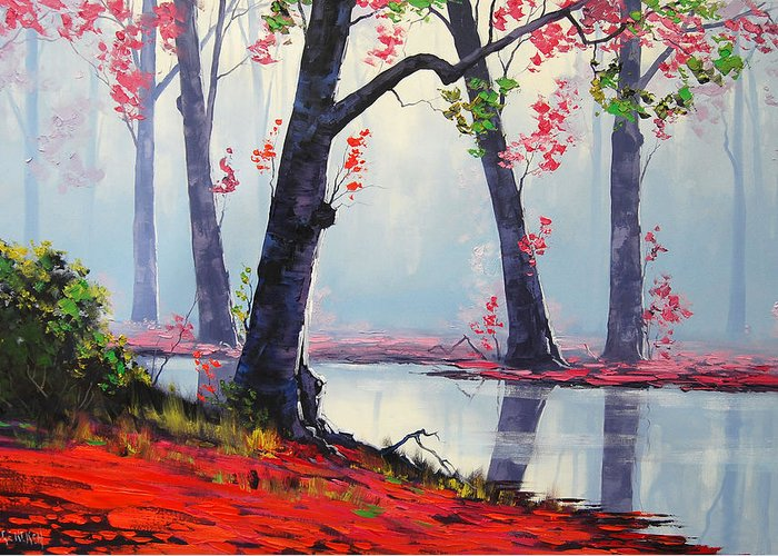Fall Greeting Card featuring the painting Quiet Stream by Graham Gercken