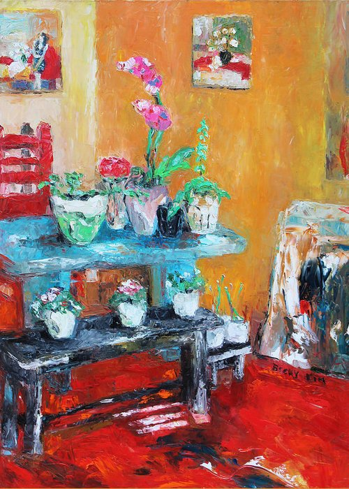 Oil Greeting Card featuring the painting Quiet Time Corner by Becky Kim